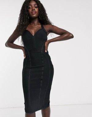 Черное бандажное платье -Черный Lipsy