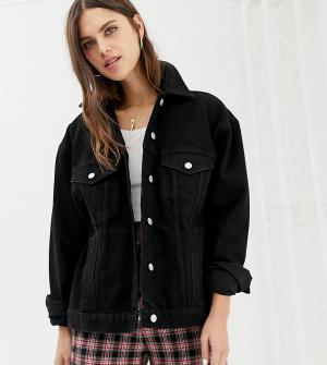Джинсовая куртка в стиле oversize от Inspired Reclaimed Vintage. Цвет: черный