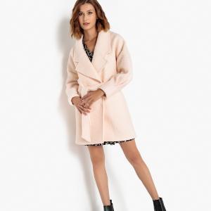 Пальто длинное из шерсти с ремешком SELECTED FEMME. Цвет: экрю