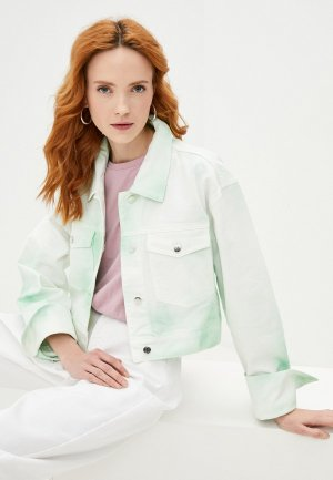 Куртка джинсовая Ireneisgood. Цвет: зеленый