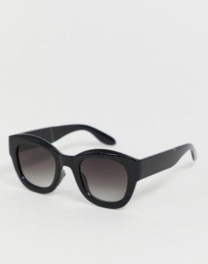 Черные овальные солнцезащитные очки -Черный AJ Morgan