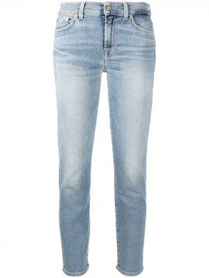 Укороченные джинсы скинни 7 For All Mankind. Цвет: синий