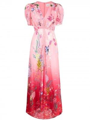 Платье макси с цветочным принтом Saloni. Цвет: розовый