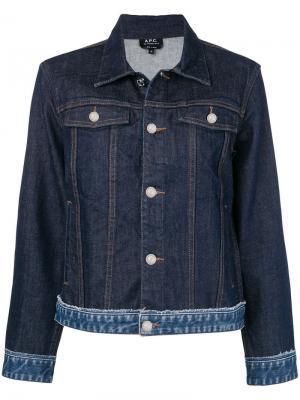Джинсовая куртка с декоративной строчкой A.P.C.. Цвет: синий