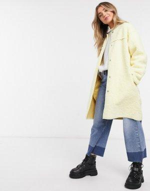 Текстурное пальто пастельного оттенка -Желтый Daisy Street