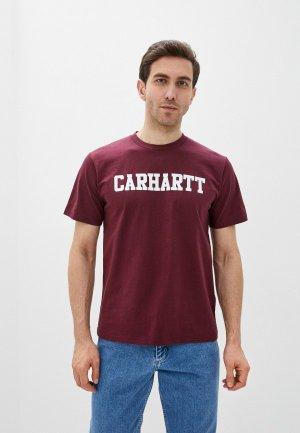 Футболка Carhartt. Цвет: бордовый