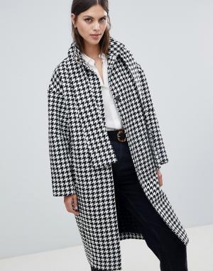 Пальто в ломаную клетку ASOS DESIGN. Цвет: мульти