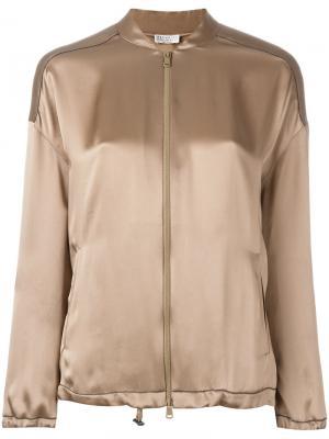 Zipped bomber jacket Brunello Cucinelli. Цвет: коричневый