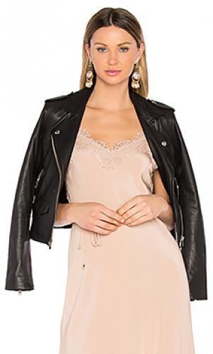 Кожаная байкерская куртка ashville IRO. Цвет: черный
