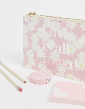 Пенал с цветочным принтом и аксессуарами внутри -Розовый Kate Spade