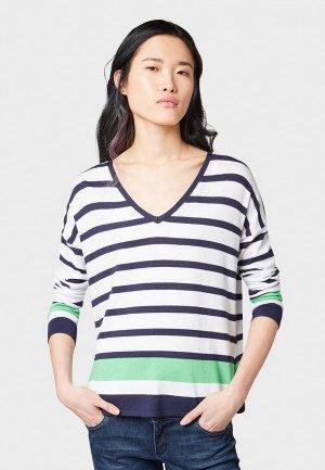 Пуловер Tom Tailor Denim. Цвет: белый