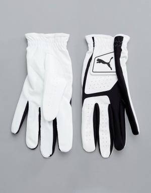 Белые перчатки из искусственной кожи Golf 4135201 Puma. Цвет: черный