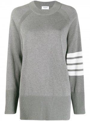 Пуловер с рукавами реглан и полосками 4-Bar Thom Browne. Цвет: серый