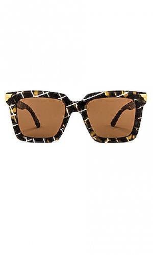 Солнцезащитные очки oversized square Bottega Veneta. Цвет: коричневый