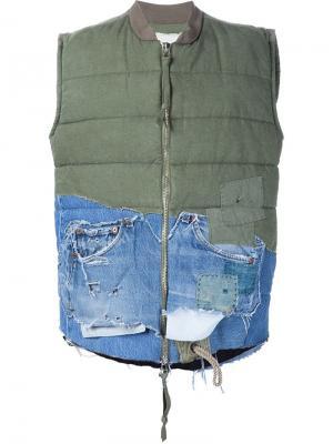 Жилет с джинсовой деталью Bomber Greg Lauren. Цвет: зелёный