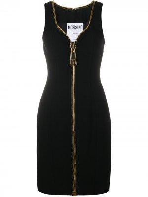 Платье мини с большой молнией Moschino. Цвет: черный