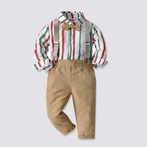 Для мальчиков в полоску Галстук-бабочка Рубашка с сарафан Брюки SHEIN. Цвет: многоцветный