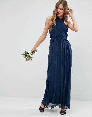 Шифоновое платье макси со сборками ASOS DESIGN. Цвет: темно-синий