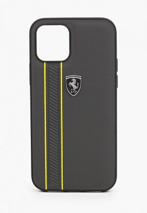 Чехол для iPhone Ferrari 12/12 Pro (6.1), Off-Track Genuine leather Stitched stipe Grey. Цвет: серый