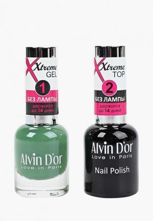 Набор гель-лаков Alvin Dor D'or Гель Xtreme extreme (Лак+Top) 2х15мл.5209 тон MIX 09. Цвет: прозрачный