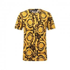 Хлопковая футболка Versace. Цвет: жёлтый
