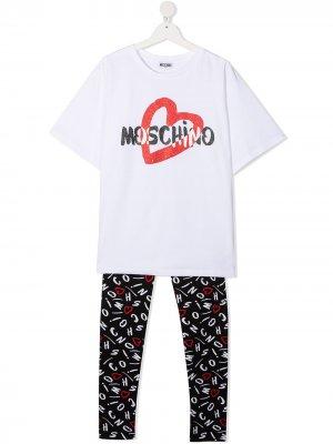 Спортивный костюм с логотипом Moschino Kids. Цвет: черный