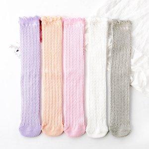 5 пар Носки выше колена для девочек SHEIN. Цвет: многоцветный