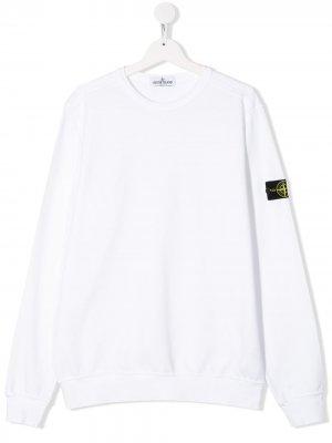 Пуловер с нашивкой-логотипом Stone Island Junior. Цвет: белый