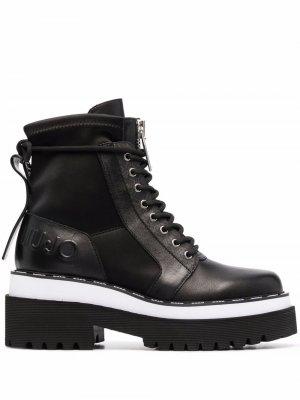 Ботинки с тисненым логотипом LIU JO. Цвет: черный