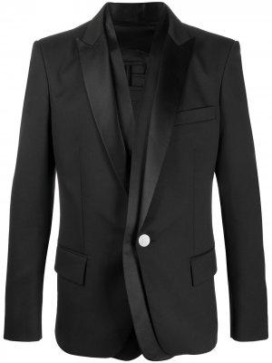 Многослойный пиджак с атласными лацканами Balmain. Цвет: черный