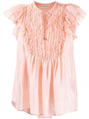 Блузка с оборками Ulla Johnson. Цвет: розовый