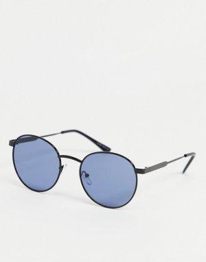 Круглые солнцезащитные очки с синими стеклами и оправой цвета пушечной бронзы -Серый Only & Sons