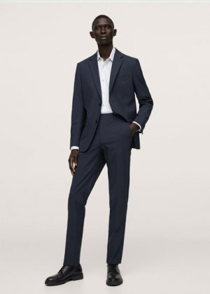 Костюмные брюки slim fit из шерсти - Breda Mango. Цвет: темно-синий
