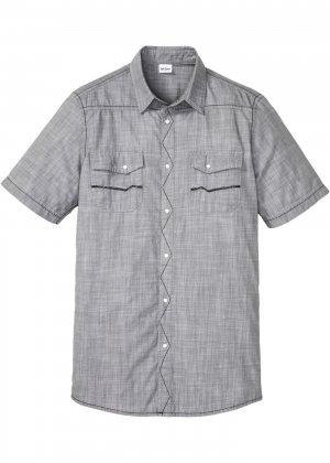 Джинсовая рубашка bonprix. Цвет: серый
