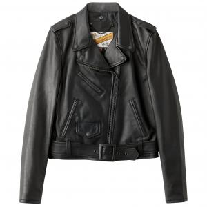 Куртка кожаная на молнии и со съемным поясом SCHOTT. Цвет: черный