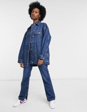 Синяя джинсовая куртка в стиле oversized из органического материала -Голубой ASOS DESIGN
