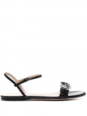 Сандалии с логотипом Gucci. Цвет: черный