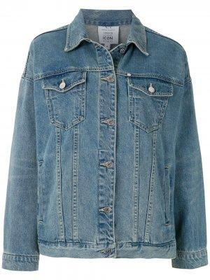 Джинсовая куртка с надписью Armani Exchange. Цвет: синий