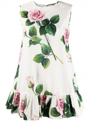 Туника с принтом Tropical Rose Dolce & Gabbana. Цвет: белый