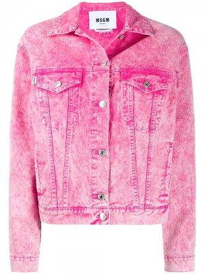 Джинсовая куртка с эффектом потертости MSGM. Цвет: розовый