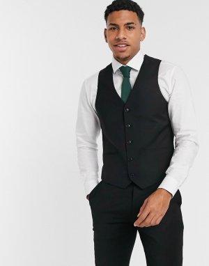 Черный жилет от костюма узкого кроя Harry Brown