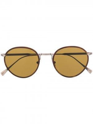 Солнцезащитные очки в круглой оправе Giorgio Armani. Цвет: коричневый