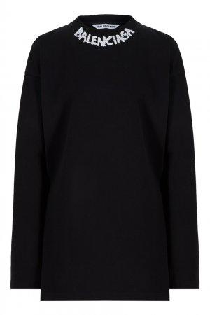 Черный хлопковый лонгслив с логотипом Balenciaga. Цвет: черный