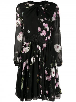 Полупрозрачное платье с цветочным принтом Giambattista Valli. Цвет: черный