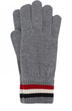 Шерстяные перчатки Moncler. Цвет: темно-серый