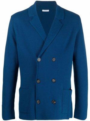 Однобортный пиджак тонкой вязки Malo. Цвет: синий