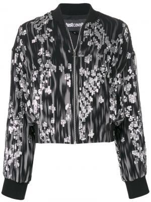 Куртка-бомбер с узором Just Cavalli. Цвет: черный