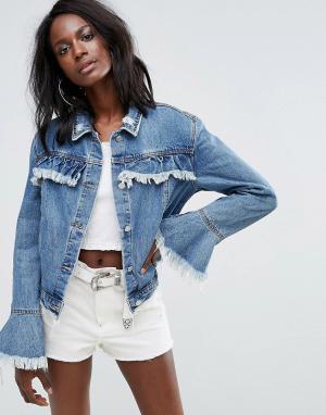 Джинсовая куртка с оборками Missguided. Цвет: синий