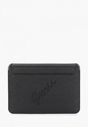 Чехол для ноутбука Guess 13, Sleeve Saffiano Script logo Black. Цвет: черный