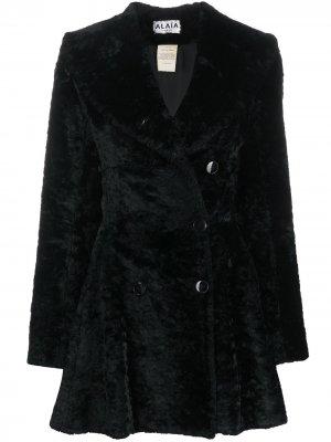Фактурное пальто с оборками Alaïa Pre-Owned. Цвет: черный